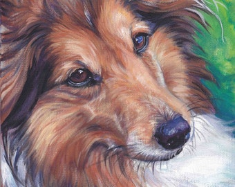 Shetland Sheepdog sheltie dog portrait CANVAS print of LA Shepard painting 12x12 art