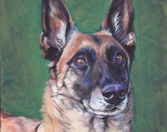 Belgian Malinois dog art portrait CANVAS print of LA Shepard painting 12x12