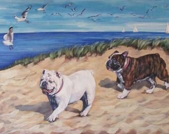 "ENGLISH BULLDOG dog art portrait canvas PRINT of LAShepard painting 9.5x7"""