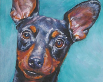 dog art Miniature Pinscher CANVAS print of LA Shepard painting 12x16 portrait