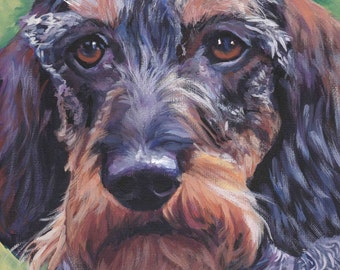 wire haired Dachshund art CANVAS print of LA Shepard painting 12x12 dog art