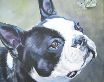 Boston Terrier dog art CANVAS print of LA Shepard painting 8x8