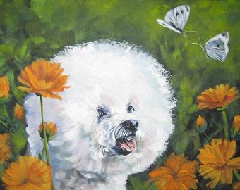 Bichon Frise dog portrait CANVAS print of LA Shepard painting 8x10 dog art