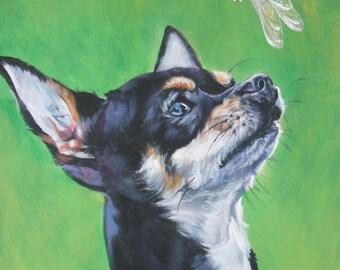 Chihuahua dog art CANVAS print of LA Shepard painting 8x10 portrait