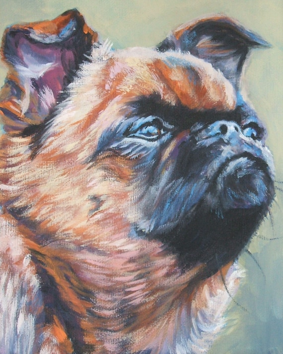 Brussels Griffon dog portrait CANVAS print of LA Shepard painting 8x10 dog art