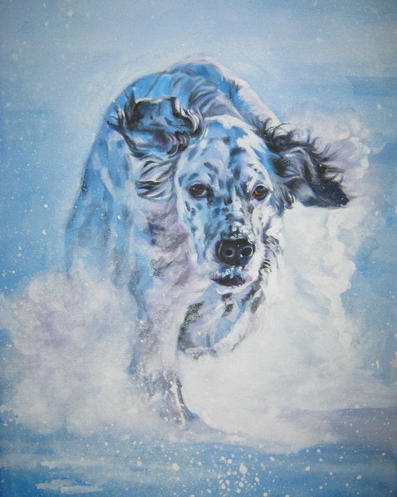 dog art English Setter CANVAS print of LA Shepard painting 11x14