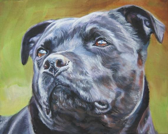 "Staffordshire BULL TERRIER dog art portrait canvas PRINT of LAShepard painting 8x10"""