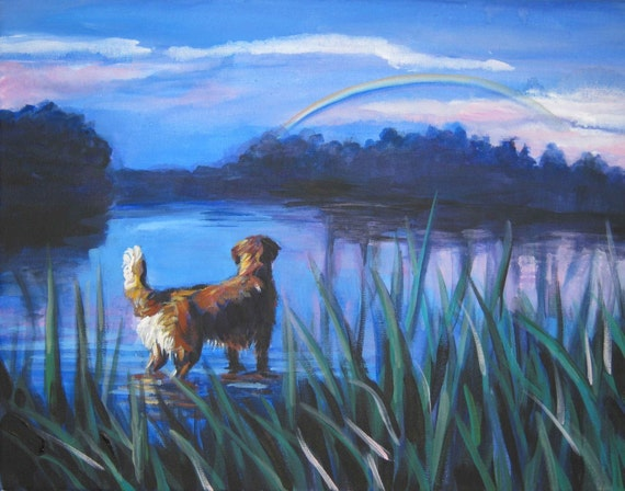 golden retriever dog art CANVAS print of LA Shepard painting 11x14 rainbow bridge