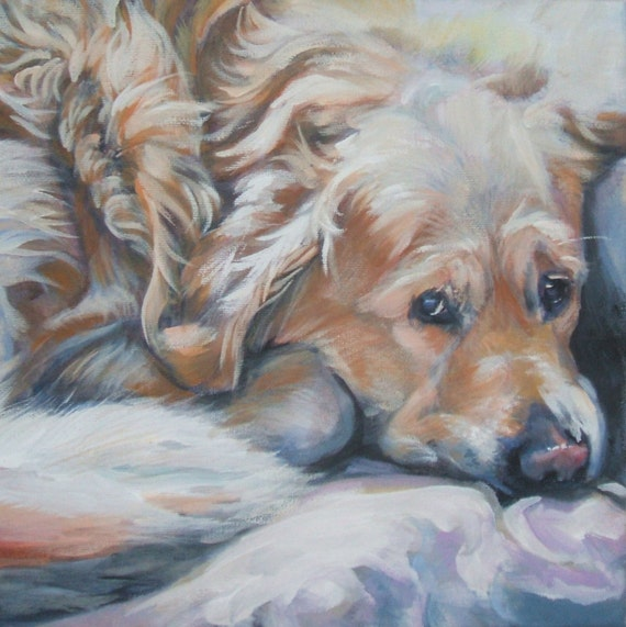 Golden Retriever dog art CANVAS print of LA Shepard painting 12x12 portrait