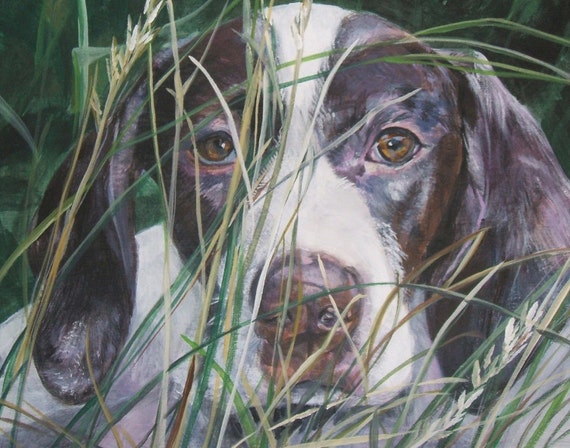 English Pointer dog art CANVAS print of LA Shepard painting 11x14 portrait