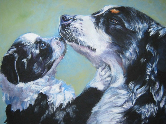 Australian Shepherd art CANVAS print of LAShepard painting 12x16 dog portrait