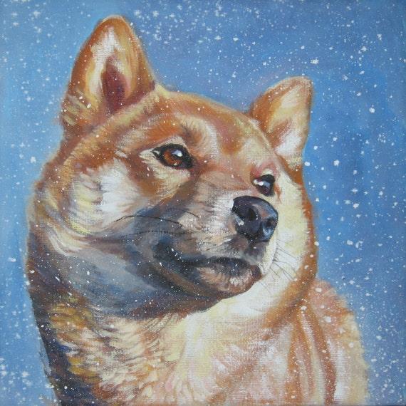 Shiba Inu art CANVAS print of LA Shepard painting 12x12 dog portrait