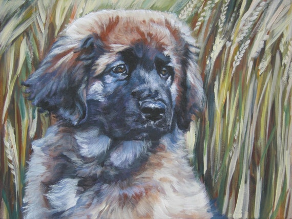 Leonberger art print canvas print of LA Shepard painting 12x16 dog art