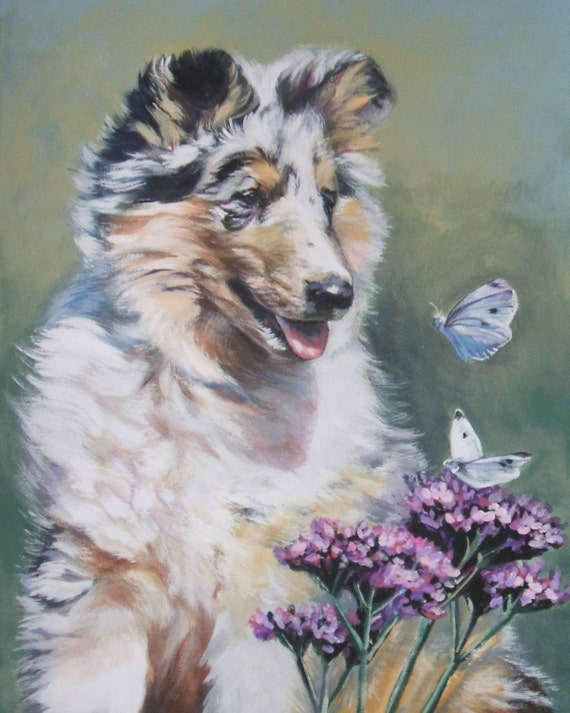 Rough Collie Dog art CANVAS print of La Shepard painting 8x10 portrait