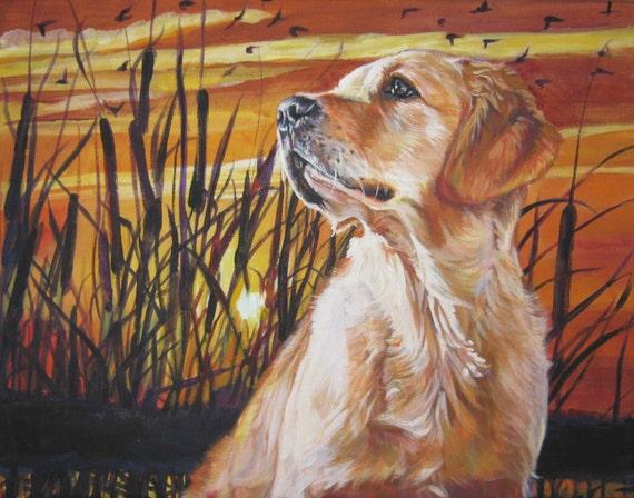 Golden Retriever Dog Art Print Portrait Of Lashepard Painting