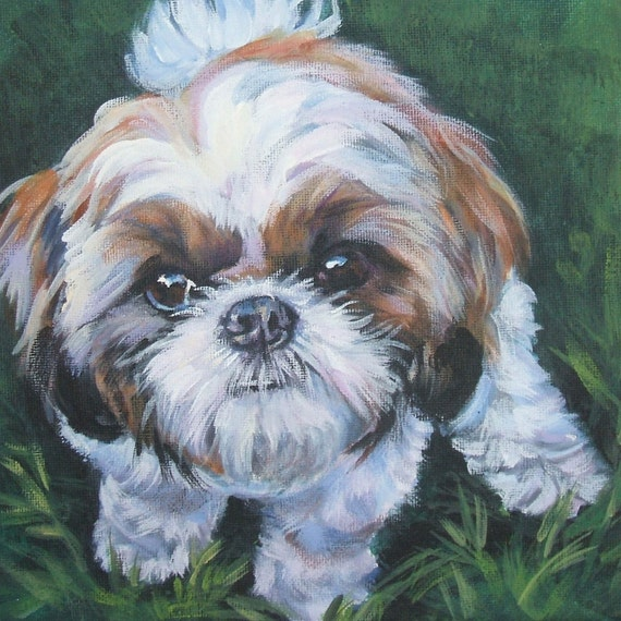 Shih tzu dog art print canvas of la shepard painting 8x8 for Dog painting artist