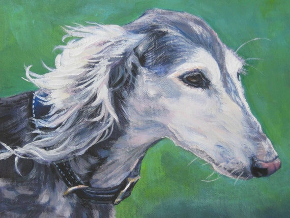 saluki dog art CANVAS print of LA Shepard painting 12x16