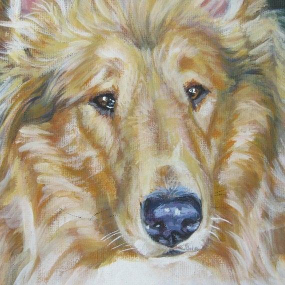 Rough Collie portrait CANVAS print of LA Shepard painting 8x8 dog art