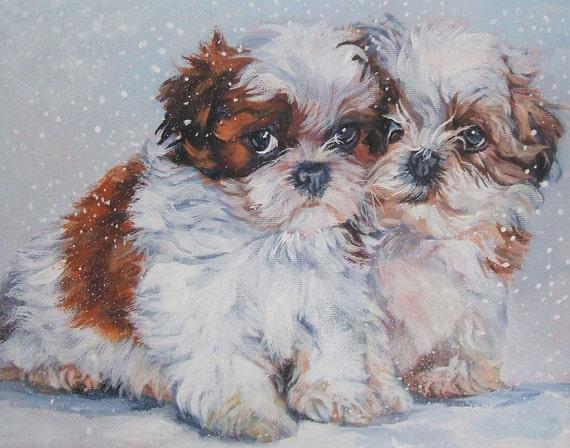 Shih Tzu art print CANVAS print of LA Shepard painting 11x14 dog art