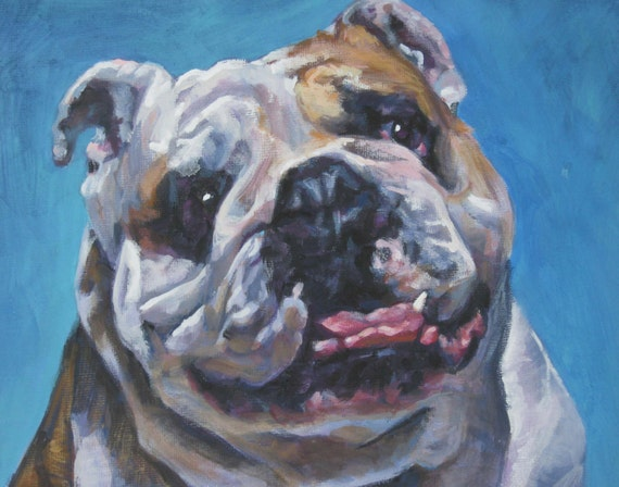 ENGLISH BULLDOG dog art portrait canvas PRINT of LAShepard