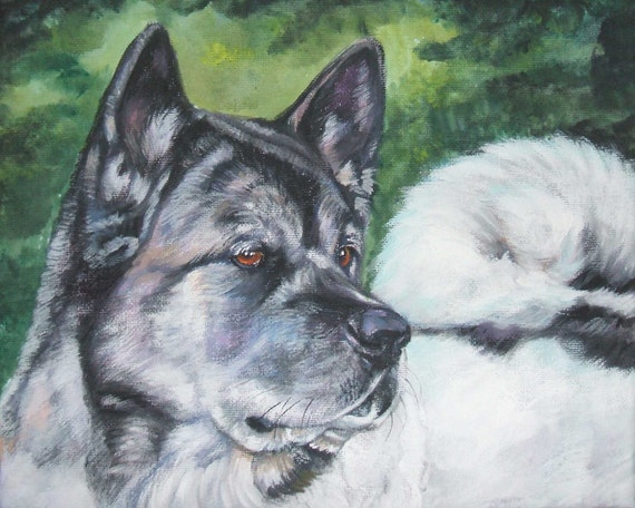 Akita dog art CANVAS print of LA Shepard painting 8x10 dog portrait