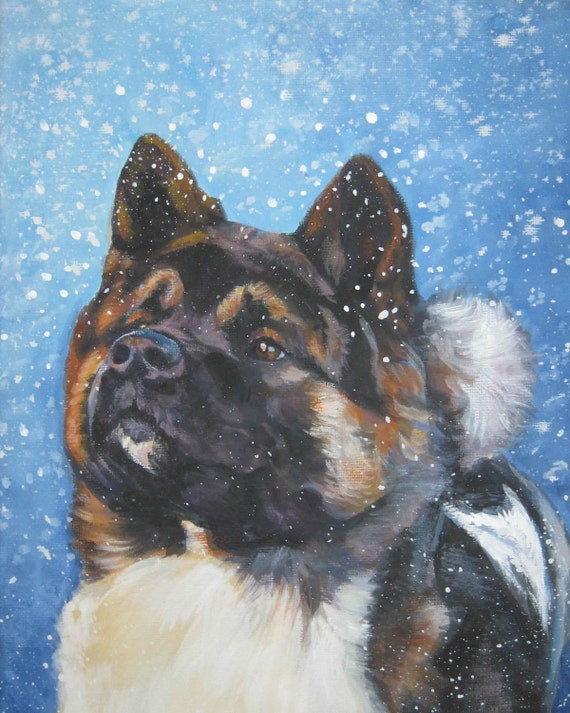 Akita art CANVAS print of LA Shepard painting 8x10 dog portrait