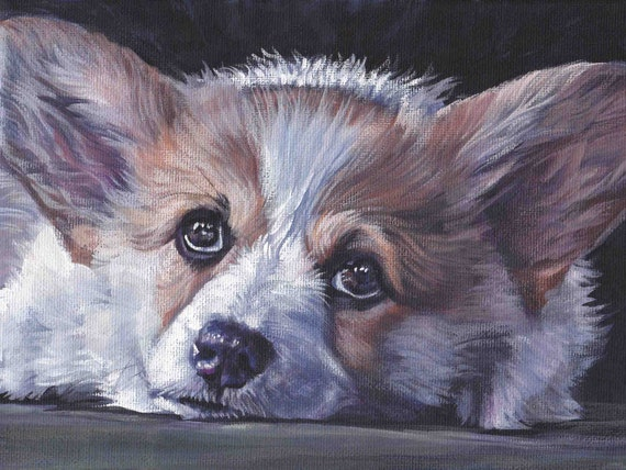 Custom Pet Portrait, custom dog painting,Pet portrait commission, Original painting from photo of your dog or cat by LA Shepard