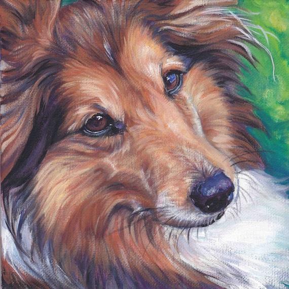 Shetland Sheepdog sheltie dog portrait CANVAS print of LA Shepard painting 12x12 art