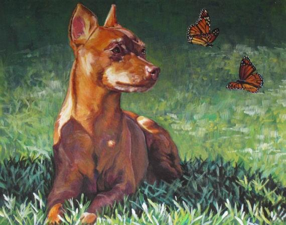 red Miniature Pinscher dog art CANVAS print of LA Shepard painting 8x10