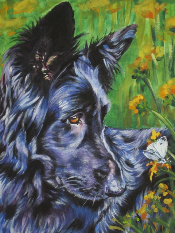 long hair black German Shepherd dog art CANVAS print of LA Shepard painting 12x16