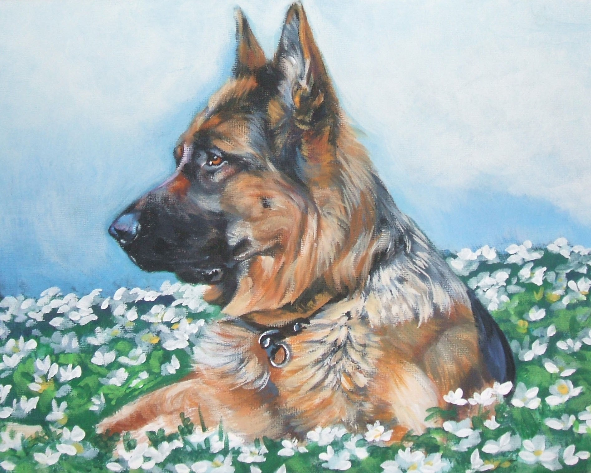 German Shepherd dog art portrait CANVAS print of LA by TheDogLover German Shepherd Dog Reviews