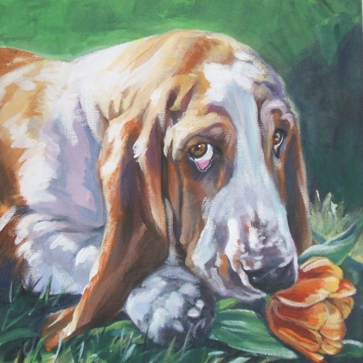 Basset hound dog art portrait canvas print of lashepard dog for Dog painting artist