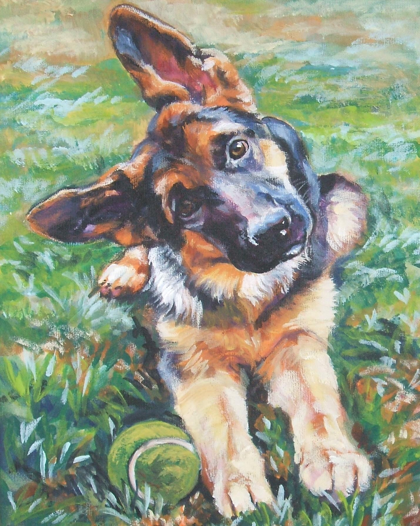 German shepherd art canvas print of la shepard painting 8x10 for Painting of your dog