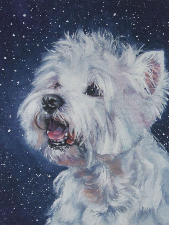 West Highland Terrier westie art print CANVAS print of LA