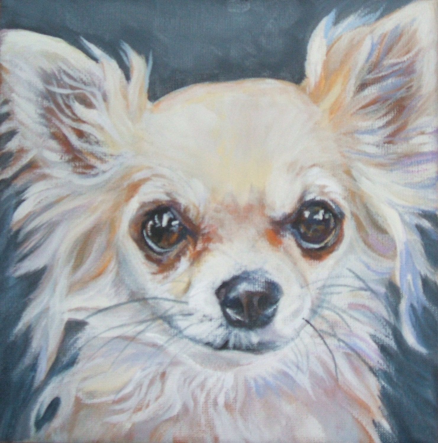 Chihuahua dog art portrait canvas print of la shepard painting for Dog painting artist