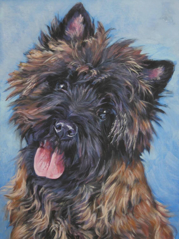 Cairn Terrier Dog Art Portrait Canvas Print Of La Shepard