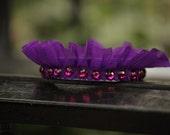 Purple Headband, Ruffle Crown, Autumn Accessories, Jeweled Tiara Band, Romantic Hair Accessories, Violet Ruffled Headband