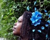 Summer Women's Accessories, Turquoise Blue Flowers, Flower Headband, Floral Headpiece, Natural Hair Accessories, Kentucky Derby Fascinator