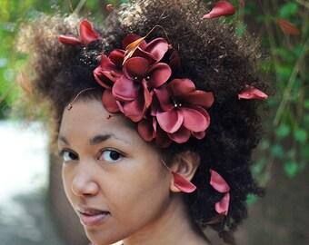 Brown Flower Headband, Floral Fascinator, Flower Headpieces, Woodland Chic, Brown Hair Accessories, Chestnut Brown, Bridesmaid Accessories