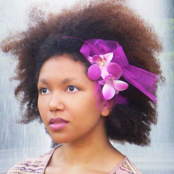 Thick Hair Accessories Headband Pink Orchid Tulle
