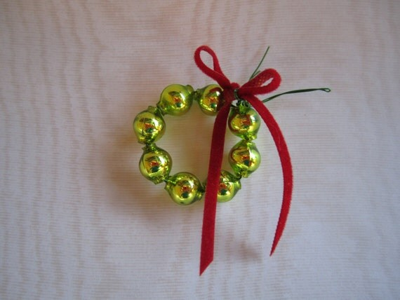 Two Mini Christmas Wreaths - Vintage Mercury Glass