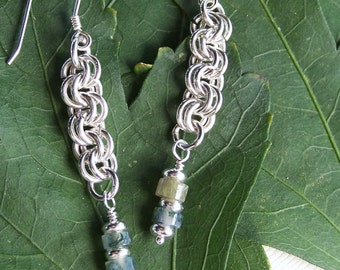Sterling Silver Chain Maille Earrings with Gemstones