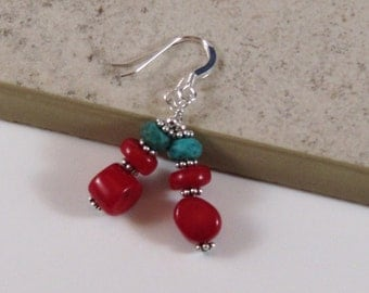 Red Coral and Teal Turquoise Earrings with Sterling Silver, Lovely Gift For Her