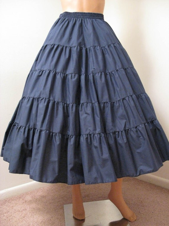 70s navy blue tiered circle skirt sz m by