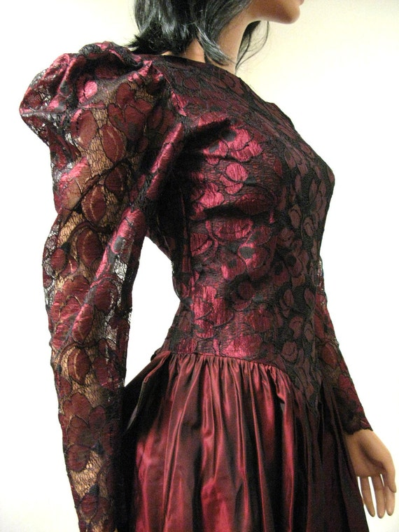 80s Prom Dress - Vintage Long Dark Red Burgundy Taffeta Black Lace Formal Gown XS  FREE US Shipping
