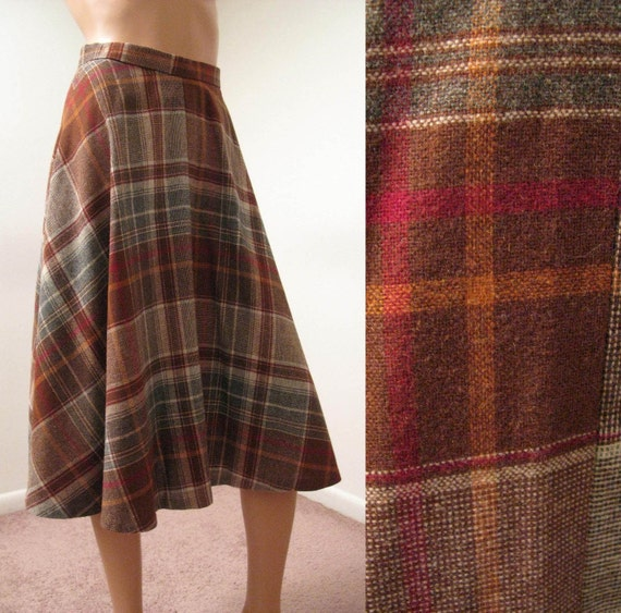 Brown Plaid Skirt Vintage 70s Flared A Line Wool By