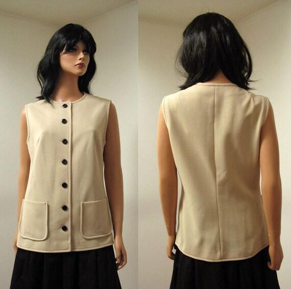 Vintage 70s Long Beige Black Sleeveless Shirt Vest L FREE US Shipping