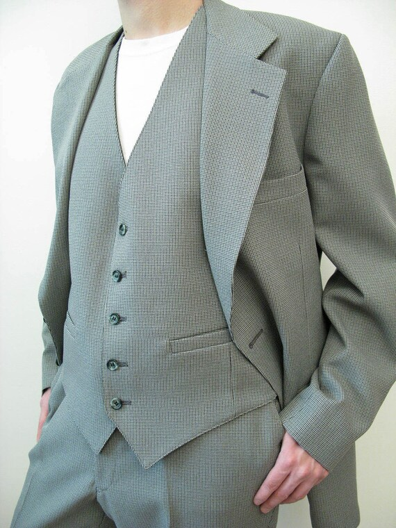 Three Piece Suit - Vintage 70s Mens Blazer Vest Pants 42L 37x32 Disco Costume Gray Green Houndstooth FREE US Shipping