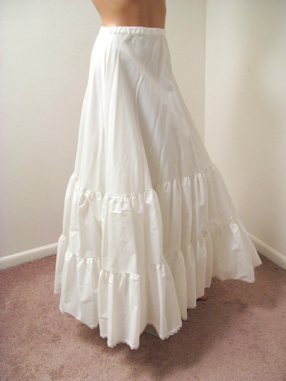 Vintage Bridal Long White Petticoat Crinoline Slip Xs Free Us