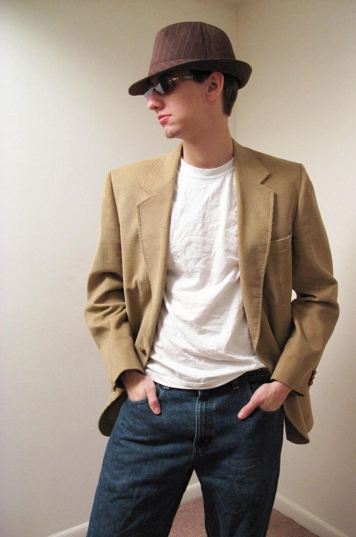 Mens corduroy blazer vintage 70s haggar beige tan jacket for Sport coat with t shirt